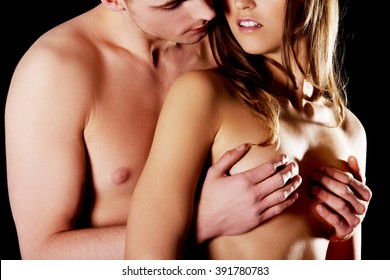 Male hands on tits